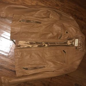 Michael Kors camel-colored leather moto jacket